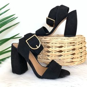 ASOS Suede Black Heeled Sandals